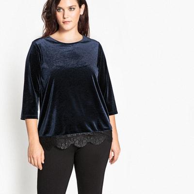 Velour T-Shirt with Lace Hem CASTALUNA