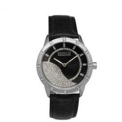Montre Kookaï Avec Cadran Noir Strassé Et Bracelet Cuir Noir Pour Femme  Montre Kookaï Avec Cadran fc1e1553417