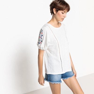 Camiseta con cuello redondo de manga corta y bordados 100% algodón La Redoute Collections