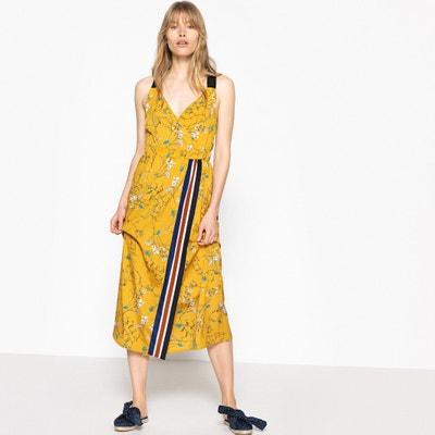 Vestido cruzado, sin mangas, semilargo, estampado La Redoute Collections