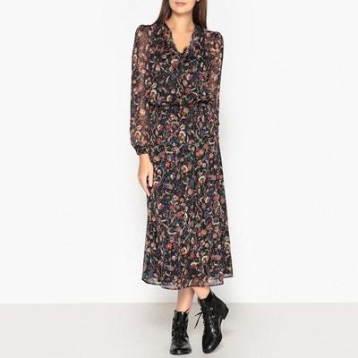 Langes Kleid, bedruckt, Glanzeffekt, lange Ärmel Langes Kleid, bedruckt, Glanzeffekt, lange Ärmel IKKS