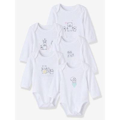 98dcb2f6dd0c0 Lot de 5 bodies pur coton bébé imprimé manches longues Lot de 5 bodies pur  coton