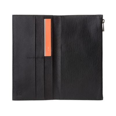 Grand portefeuille vertical Bifold pour homme en cuir véritable avec fermeture éclair extérieure, porte-cartes et porte-bil DUDU