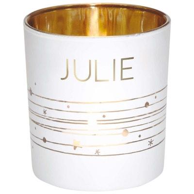 Photophore en verre Julie blanc et or hauteur Photophore en verre Julie blanc et or hauteur DRAEGER LA CARTERIE