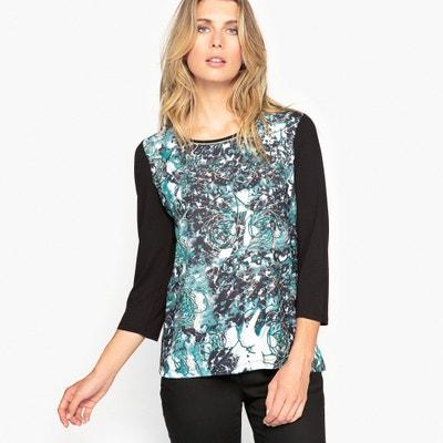 T-shirt bi-matière imprimé ANNE WEYBURN
