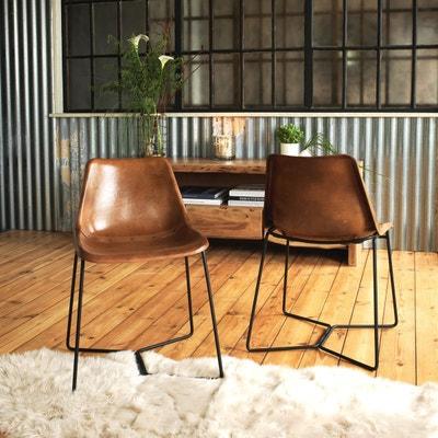 Chaise industrielle cuir et métal pieds trapèze  |  ME MADE IN MEUBLES