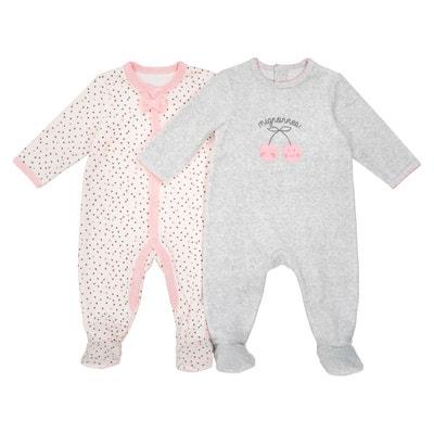 Lot de 2 Pyjamas naissance velours 0 mois-3 ans Lot de 2 Pyjamas naissance velours 0 mois-3 ans LA REDOUTE COLLECTIONS
