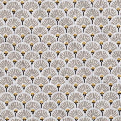Tissu coton cretonne éventails dorées - A la coupe, Oeko-Tex® Tissu coton cretonne éventails dorées - A la coupe, Oeko-Tex® CAREFIL