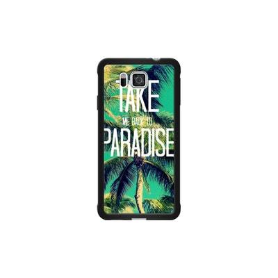 1dfbfc908a9d5e Coque pour Samsung Galaxy Alpha côtés silicone Noir Brillant TAKE ME BACK  TO PARADISE II par