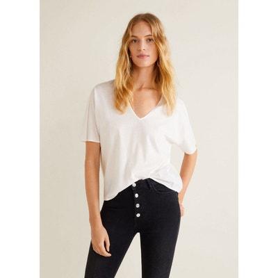 T-shirt coton plissé MANGO