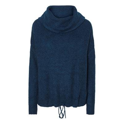 Пуловер свободного покроя с отворачивающимся воротником из тонкого трикотажа Пуловер свободного покроя с отворачивающимся воротником из тонкого трикотажа VERO MODA