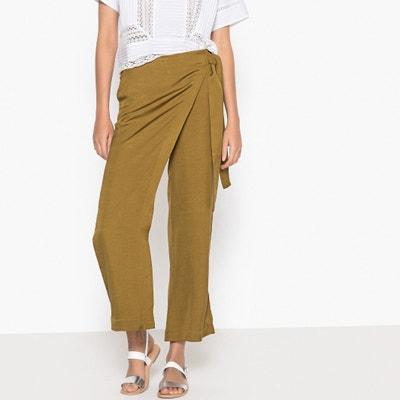 Pantalon large à pans 7/8ème lin viscose Pantalon large à pans 7/8ème lin viscose La Redoute Collections