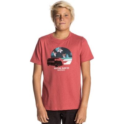 T-shirt estampada com gola redonda, mangas curtas T-shirt estampada com gola redonda, mangas curtas RIP CURL
