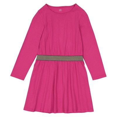 Vestido liso, cinto brilhante, 3-12 anos Vestido liso, cinto brilhante, 3-12 anos La Redoute Collections