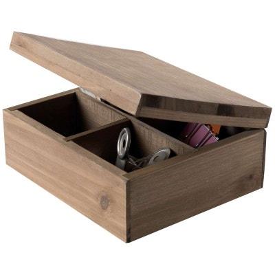 Boîte à couvercle compartimentée, en bois « Vintage » COMPACTOR