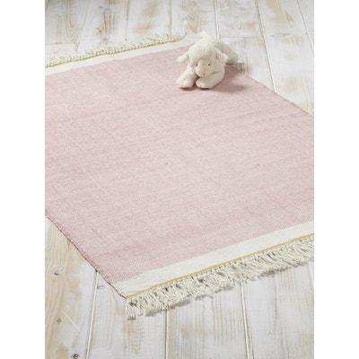 tapis coton franges cyrillus - Tapis Rose Poudre