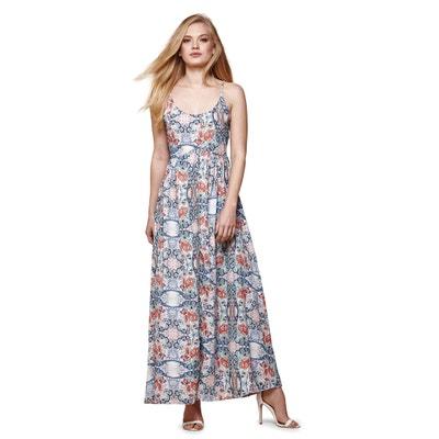 Lange jurk met bloemenprint en smalle bandjes YUMI