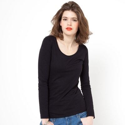 T-shirt col rond, manches longues coton biologique La Redoute Collections