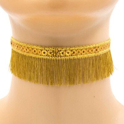 Collier ras de cou doré avec des sequins ronds et des franges fines Collier ras de cou doré avec des sequins ronds et des franges fines EXOTIC EXPRESS