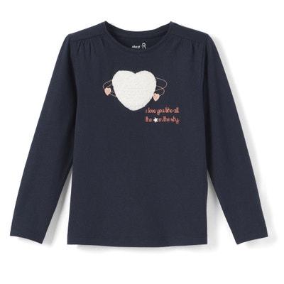 T-shirt cuore in bouclé da 3 a 12 anni La Redoute Collections