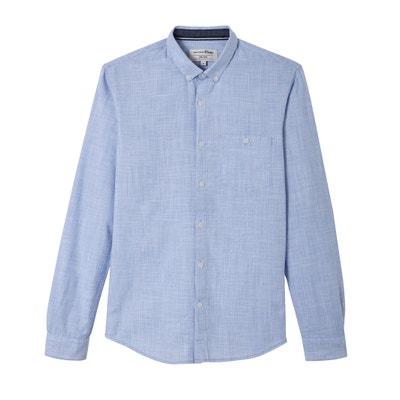 Effen getailleerd hemd met lange mouwen TOM TAILOR