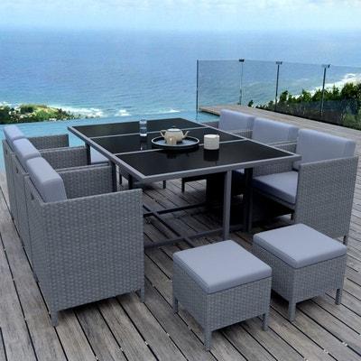 Salon de jardin en résine tressée encastrable doppio, pour balcon et ...