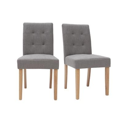 Chaises design capitonnées tissu pieds bois (lot de 2) ESTER MILIBOO c8bad50104a9