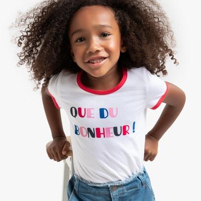 T-shirt met tekst 'Que du bonheur', 3-12 jaar T-shirt met tekst 'Que du bonheur', 3-12 jaar LA REDOUTE COLLECTIONS