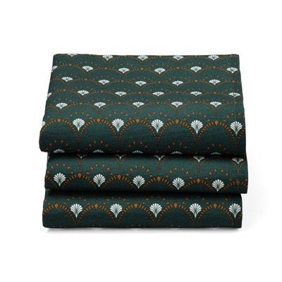 Set van 3 bedrukte servetten, Mina groen Set van 3 bedrukte servetten, Mina groen LA REDOUTE INTERIEURS
