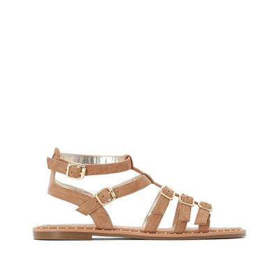 ff3c62904c4a52 Sandales en cuir bout ouvert, détails clous Sandales en cuir bout ouvert,  détails clous
