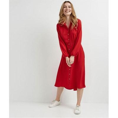 f2ff4fc450a Robe chemise rouge longue GRAIN DE MALICE