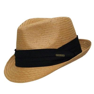c12d83eec0d07 Trilby camel style panama ruban noir CHAPEAU-TENDANCE