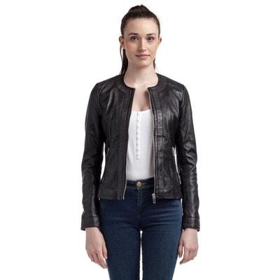 Veste tailleur cuir noir femme