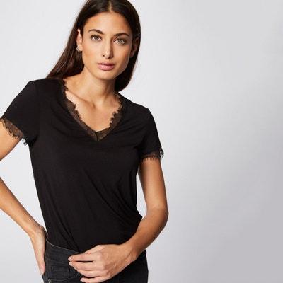 T-shirt col V et manches courtes finition dentelle T-shirt col V et. Morgan  Mania 19fb4fd2351