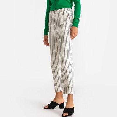 3189e010bac0 Pantaloni dritti a righe in cotone e lino Pantaloni dritti a righe in cotone  e lino