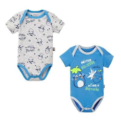 2c44896391655 Lot de 2 bodies manches courtes bébé garçon Ramollo PETIT BEGUIN