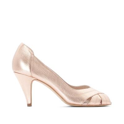 9eaae7d46c Leather Metallic Peep Toe Heels Leather Metallic Peep Toe Heels LA REDOUTE  COLLECTIONS