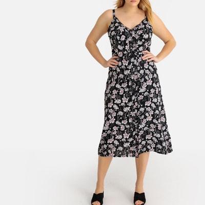 8149f63652 Floral Printed Long Dress with Shoestring Straps Floral Printed Long Dress  with Shoestring Straps CASTALUNA PLUS