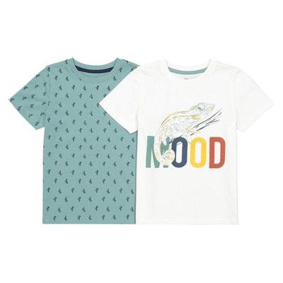 4d39fb73aced90 Lot de 2 T-shirts imprimés Oeko-Tex 3-12 ans Lot de