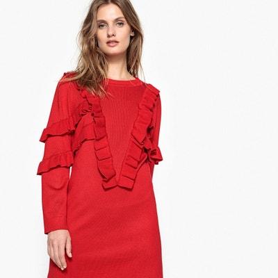 8dd4d72847be Vestido-camisola com folhos, curto, mangas compridas SUNCOO