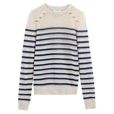 d588abbafe4 Cotton Linen Breton Striped Buttoned Openwork Jumper Cotton Linen Breton  Striped Buttoned Openwork Jumper