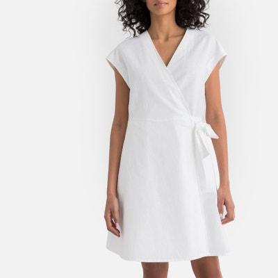 free shipping c3568 fb5a9 Cotton Linen Tie-Waist Wrapover Dress Cotton Linen Tie-Waist Wrapover Dress