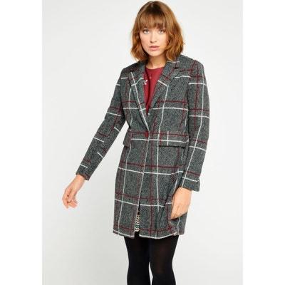 Manteau mi-longue avec carreaux Manteau mi-longue avec carreaux LOLALIZA 0127ef4f518
