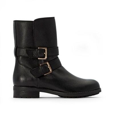 Ladies Coconel Black Faux Leather Suede Buckle Diamante Flat Biker Ankle Boot