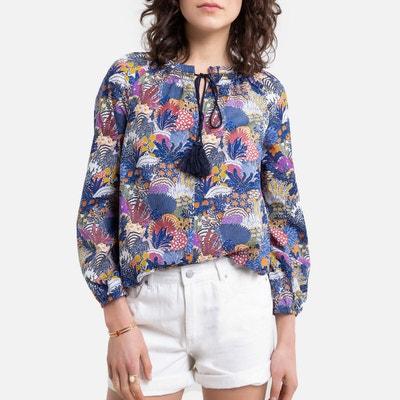 Bedrukte blouse met pompons Bedrukte blouse met pompons SEE U SOON