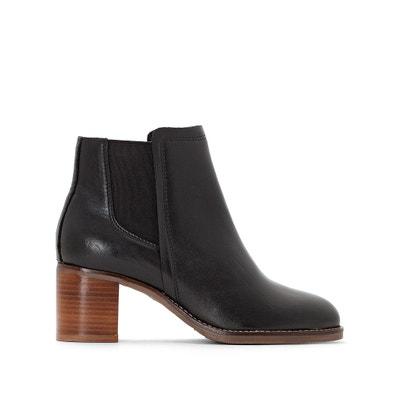 Chelsea boots in leer, zool met crêpe effect Chelsea boots in leer, zool met crêpe effect LA REDOUTE COLLECTIONS