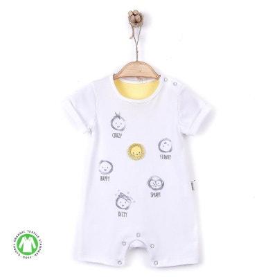 395e6240e6229 Combishort barboteuse bébé en coton biologique - Emotions SEVIRA KIDS