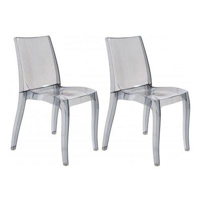 Lot De 2 Chaises Design Transparentes Grises GREECE