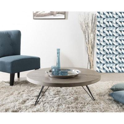 4ac8d340ee3378 Table basse ronde bois   pieds métal LANDAISE Table basse ronde bois    pieds métal LANDAISE