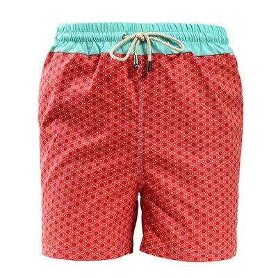 966ffb5b7072 Short de bain imprimé rond rouge avec ceinture bleu DAGOBEAR